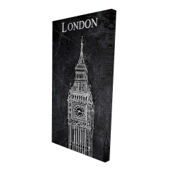Canvas 24 x 48 - 3D - Big ben sketch with a map in background