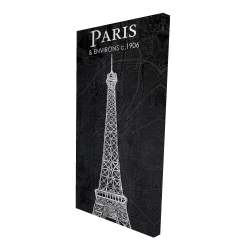 Canvas 24 x 48 - 3D - Eiffel tower sketch with a map in background
