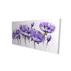 Canvas 24 x 48 - 3D - Abstract purple flowers