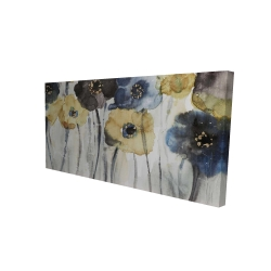 Canvas 24 x 48 - 3D - Gray blue and yellow flowers