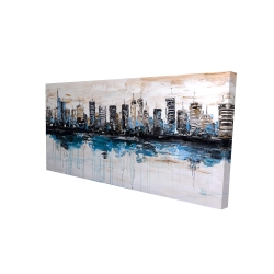 Canvas 24 x 48 - 3D - Abstract city with reflection on water