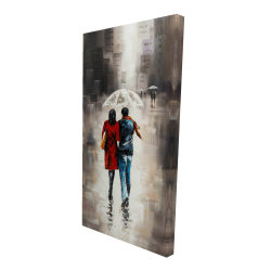 Canvas 24 x 48 - 3D - Quiet walk in couple in the rain