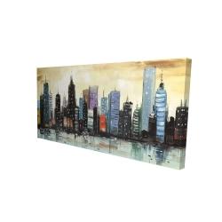 Canvas 24 x 48 - 3D - Skyline on abstract cityscape