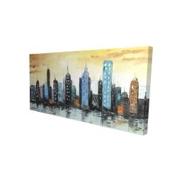 Canvas 24 x 48 - 3D - Skyline on cityscape