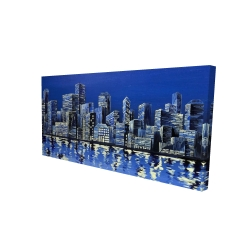 Canvas 24 x 48 - 3D - City in blue