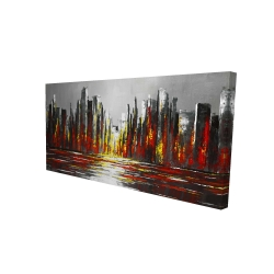 Canvas 24 x 48 - 3D - Abstract red skyline