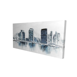 Canvas 24 x 48 - 3D - Texturized blue colors cityscape