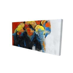 Canvas 24 x 48 - 3D - Colorful abstract moving elephant