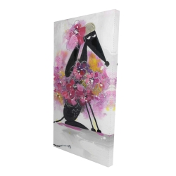 Canvas 24 x 48 - 3D - Cartoon dog with pink flowers
