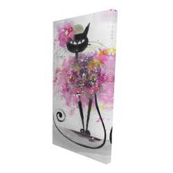 Canvas 24 x 48 - 3D - Cartoon cat with pink flowers