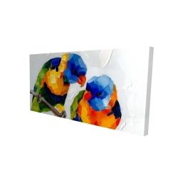 Canvas 24 x 48 - 3D - Couple of parrots