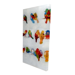Canvas 24 x 48 - 3D - A lot of colorful birds on a wire