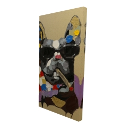 Canvas 24 x 48 - 3D - Abstract smoking dog