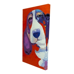Canvas 24 x 48 - 3D - Abstract colorful basset dog