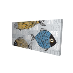 Canvas 24 x 48 - 3D - Fishes' illustration