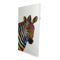 Canvas 24 x 48 - 3D - Colorful profile view of a zebra