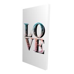 Toile 24 x 48 - 3D - Amour coloré