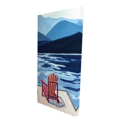 Canvas 24 x 48 - 3D - Lake, dock, mountains & chairs