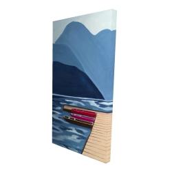 Canvas 24 x 48 - 3D - Lake, quai & mountains