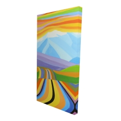 Canvas 24 x 48 - 3D - Mountain road multicolored