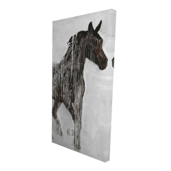Canvas 24 x 48 - 3D - Abstract brown horse