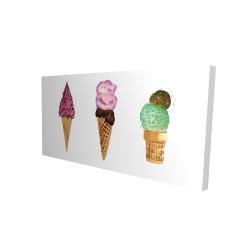 Canvas 24 x 48 - 3D - Ice cream cones