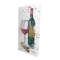 Canvas 24 x 48 - 3D - Bottle of red wine