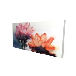 Canvas 24 x 48 - 3D - Watercolor lotus flowers