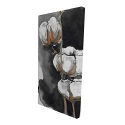 Canvas 24 x 48 - 3D - Watercolor cotton flowers
