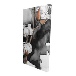 Canvas 24 x 48 - 3D - Cotton flowers on a black background