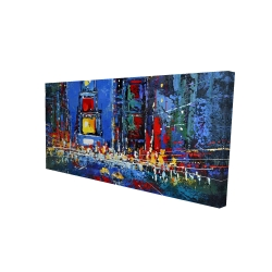 Canvas 24 x 48 - 3D - Colorful and abstract times square by night
