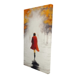 Canvas 24 x 48 - 3D - Woman with a red coat by fall