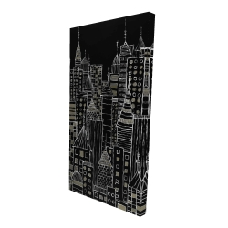 Canvas 24 x 48 - 3D - Illustrative city towers