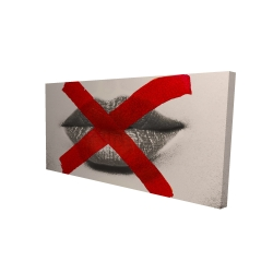 Canvas 24 x 48 - 3D - Grayscale lips with a red x