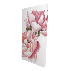 Canvas 24 x 48 - 3D - Two pink watercolor roses