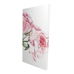 Canvas 24 x 48 - 3D - Watercolor pink roses