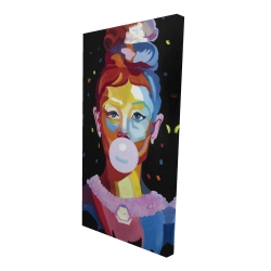 Canvas 24 x 48 - 3D - Colorful audrey hepburn portrait with bubblegum