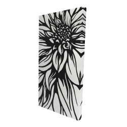 Canvas 24 x 48 - 3D - Dahlia flower outline style