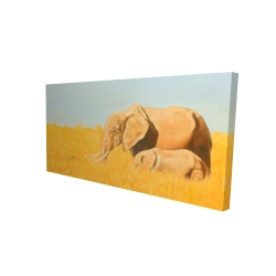 Canvas 24 x 48 - 3D - Elephant and its little one