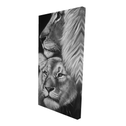 Canvas 24 x 48 - 3D - Lion and lioness