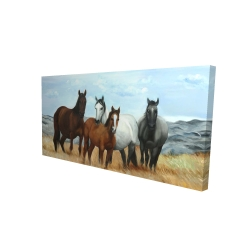 Canvas 24 x 48 - 3D - Horses in the meadow by the sun