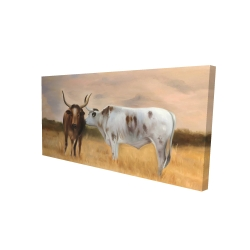 Canvas 24 x 48 - 3D - Two cows kissing by sunset