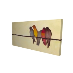 Canvas 24 x 48 - 3D - Five birds on a branch