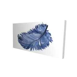 Canvas 24 x 48 - 3D - Watercolor blue feather