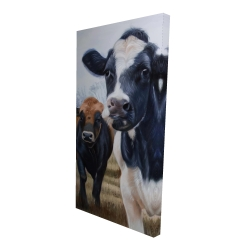 Canvas 24 x 48 - 3D - Two cows eating grass