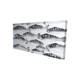Canvas 24 x 48 - 3D - Gray shoal of fish