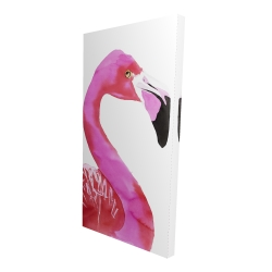 Canvas 24 x 48 - 3D - Watercolor proud flamingo profile