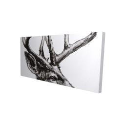 Canvas 24 x 48 - 3D - Roe deer plume