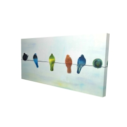 Canvas 24 x 48 - 3D - Perched abstract birds