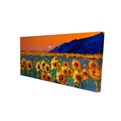 Canvas 24 x 48 - 3D - Field of sunflowers